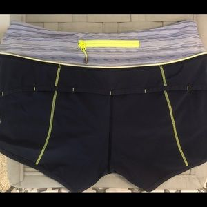 Lululemon Speed Shorts in Navy with yellow lining